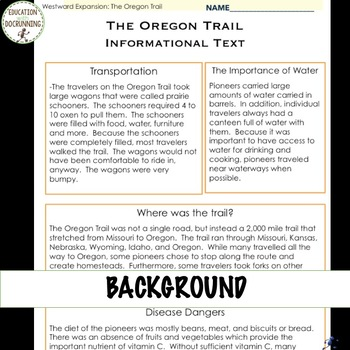 Oregon Trail Interactive Notebook and Center Activities for Westward Expansion