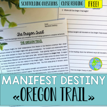 Oregon Trail Reading Passage and Questions *FREEBIE*