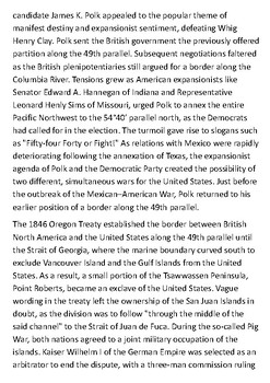The Oregon boundary 54 40 or Fight Handout