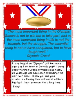 The Oreo Cookie Olympics An Integrated Unit of Fun!