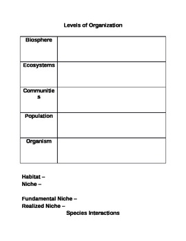 The Organization of Life Powerpoint Notes