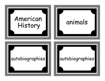 """The Organized Classroom"" Library Labels - BW"