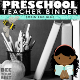 Preschool Teacher BEST BINDER in Robin Egg Blue