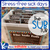 The Organized Sub Tub for Stress Free Substitute Plans EDITABLE!