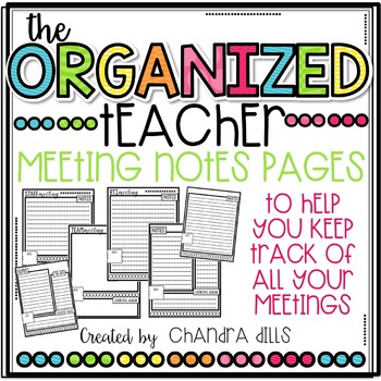 The Organized Teacher- {Editable} Meeting Notes Pages
