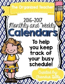 The Organized Teacher- Monthly Calendars