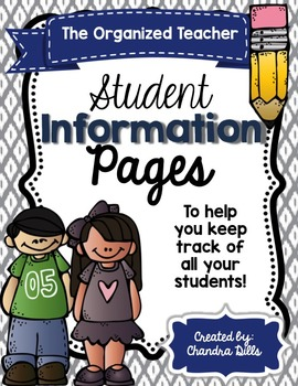 The Organized Teacher- {Editable} Student Information Pages