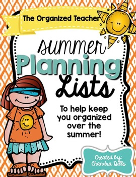 The Organized Teacher- Summer Planning Lists