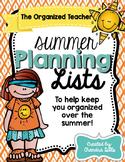 The Organized Teacher- Summer Planning Lists