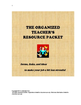The Organized Teacher's Resource Packet (Great for Back-to-School)