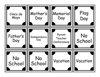 """The Organzied Classroom"" Calendar - BW"