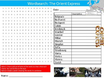 The Orient Express Wordsearch Puzzle Sheet Keywords Train Rail Transport History