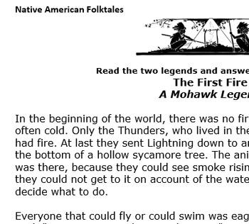 The Origin of Fire; Two Native American folktales class handouts
