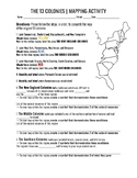 The Original 13 Colonies Labeling and Map Activity