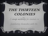 Original Thirteen Colonies Map Activity-1776
