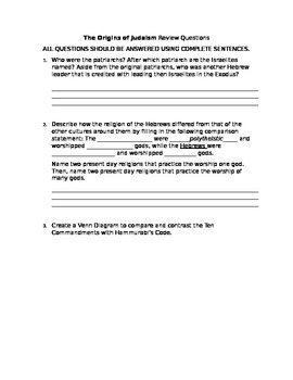 The Origins of Judaism Review Questions-Free Response