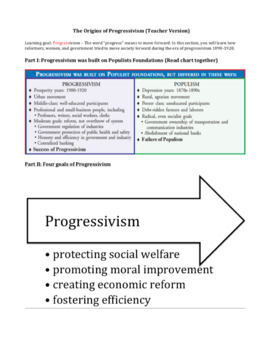 The Origins of Progressivism: Graphic Organizer