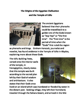 The Origins of the Egyptian Civilization and the Temple of Edfu