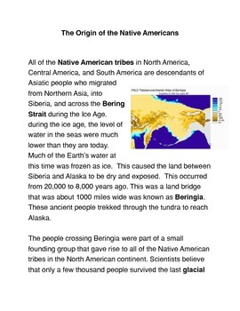 The Origins of the Native Americans Common Core Activities