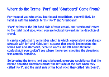 The Origins of the Terms 'Port' and 'Starboard'