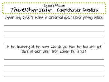 The Other Side by Jacqueline Woodson:    A Complete Literature Study!