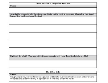 The Other Side by Jacqueline Woodson Theme Graphic Organizer