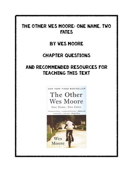 The Other Wes Moore Bundle By Diary Of An English Professor  Tpt The Other Wes Moore Bundle