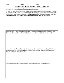 The Other Wes Moore - Chapters 1-3 Interactive Notebook/Worksheets