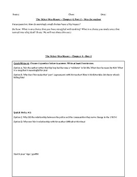 The Other Wes Moore - Chapters 4-6 Interactive Notebook/Worksheets