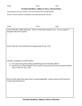 The Other Wes Moore - Chapters 7-8 Interactive Notebook/Worksheets