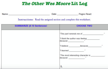 The Other Wes Moore Lit Log