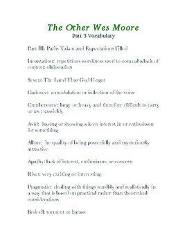 The Other Wes Moore  Part 3 Vocabulary