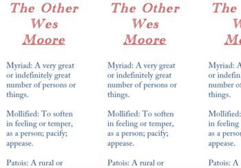 The Other Wes Moore Vocabulary Bookmarks