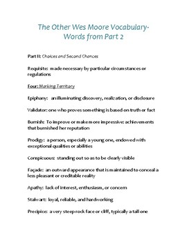 The Other Wes Moore Vocabulary (Part 2)