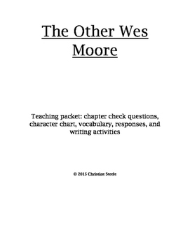 The Other Wes Moore curriculum packet