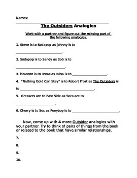 The Outsiders analogies and metaphors