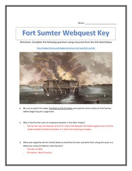 The Outbreak of the Civil War- Fort Sumter- Webquest and Video Analysis with Key