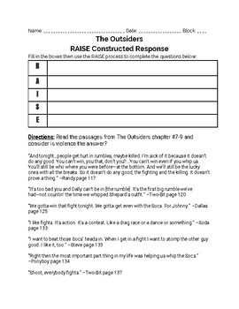 The Outsider--RAISE Constructed Response Prompt