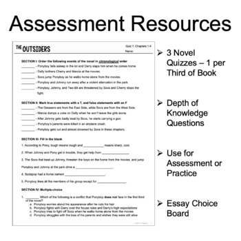 The Outsiders - Test and Exam on ELA Skills