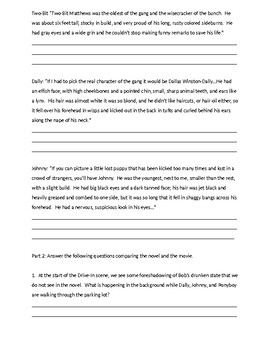 The Outsiders Book Vs. Movie Worksheet