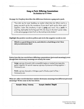The Outsiders Ch 1-2 Connotation minilesson (common core RL.8.4)