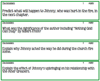 The Outsiders Ch. 1-6 Bloom's Taxonomy Task Cards and Worksheet