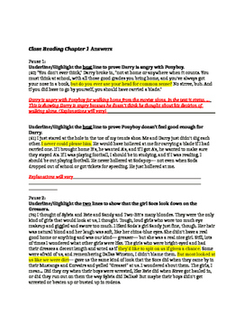 The Outsiders Chapter 1 Close Reading for Evidence