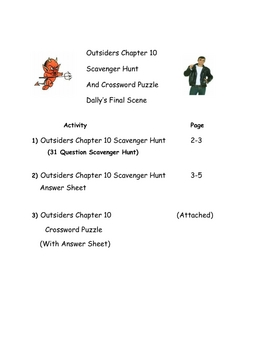Outsiders Chapter 10 Scavenger Hunt and Crossword Puzzle
