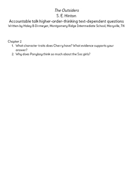 The Outsiders Chapter 2 Discussion Questions