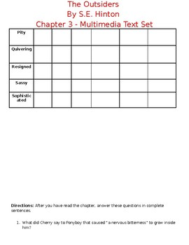 The Outsiders Chapter 3 - Handouts and Activities
