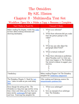 The Outsiders - Chapter 3 Multimedia Text Set **FOR USE IN GOOGLE CLASSROOM***