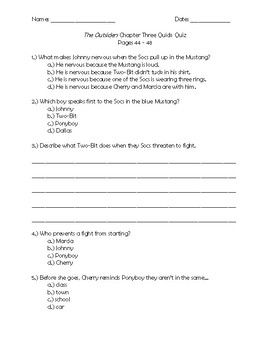 The Outsiders Chapter 3 Quick Quiz Pages 44 - 48