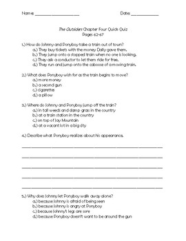 The Outsiders Chapter 4 Quick Quiz Pages 62 - 67