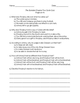 The Outsiders Chapter 5 Quick Quiz Pages 68 - 75
